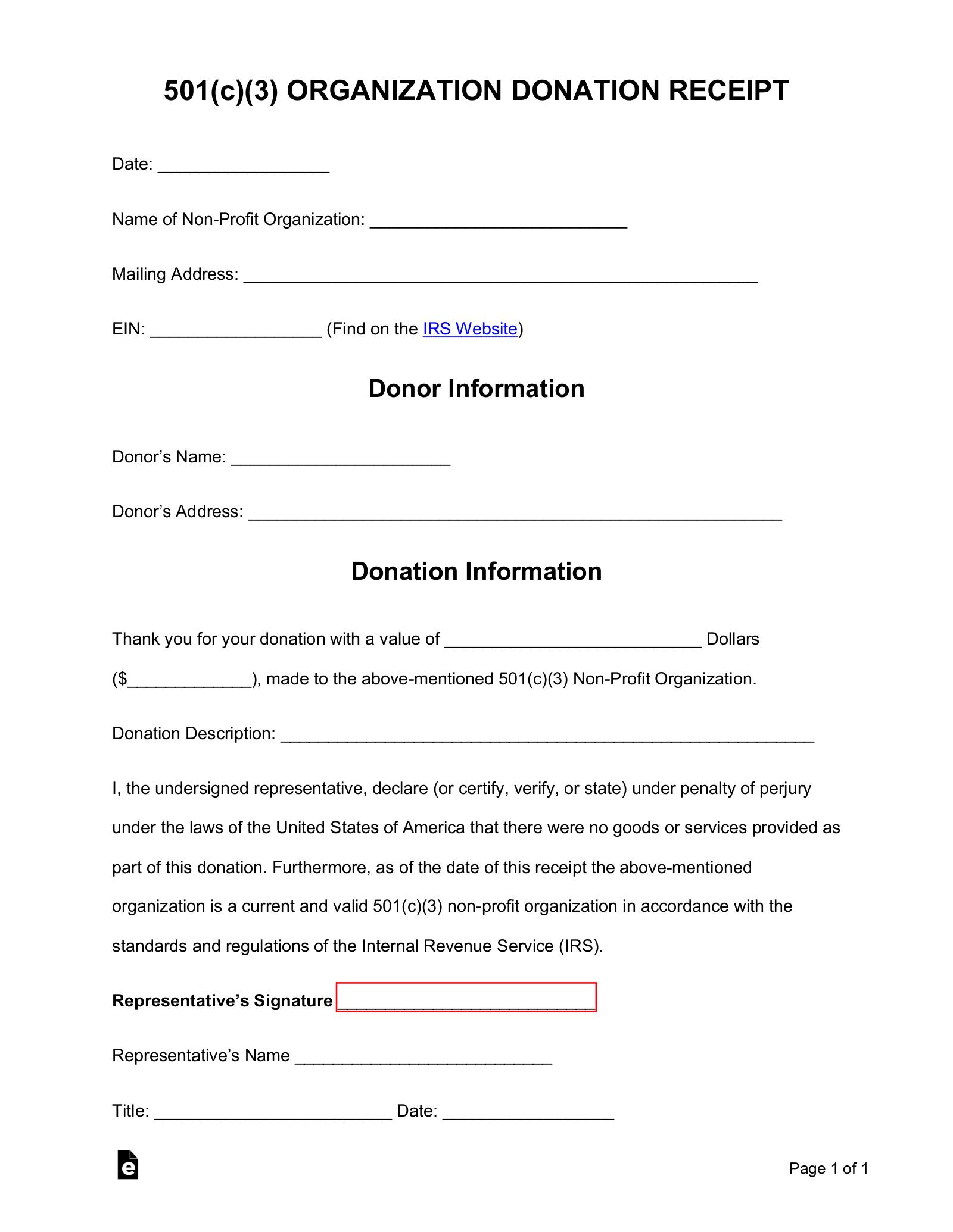 Free 501 C 3 Donation Receipt Template Sample Pdf