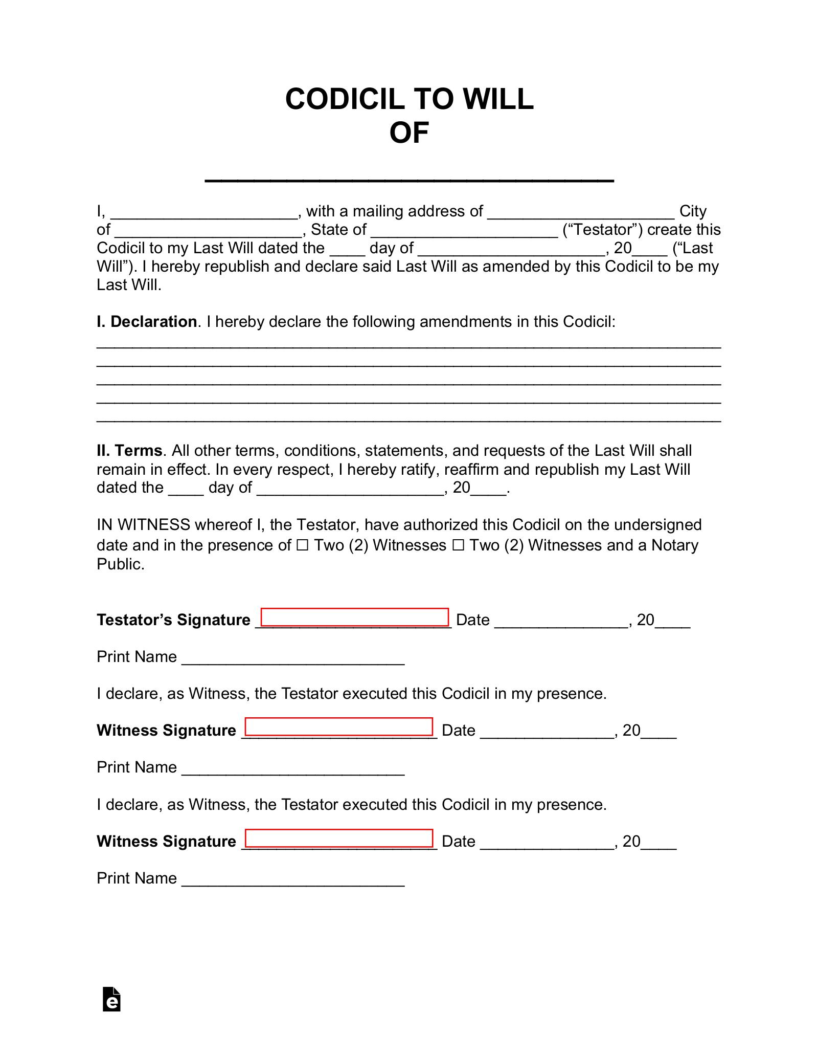 Free Codicil To Will Form Pdf Word Eforms Free