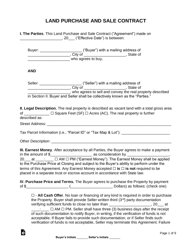 Free Land Contract Template - PDF  Word – eForms