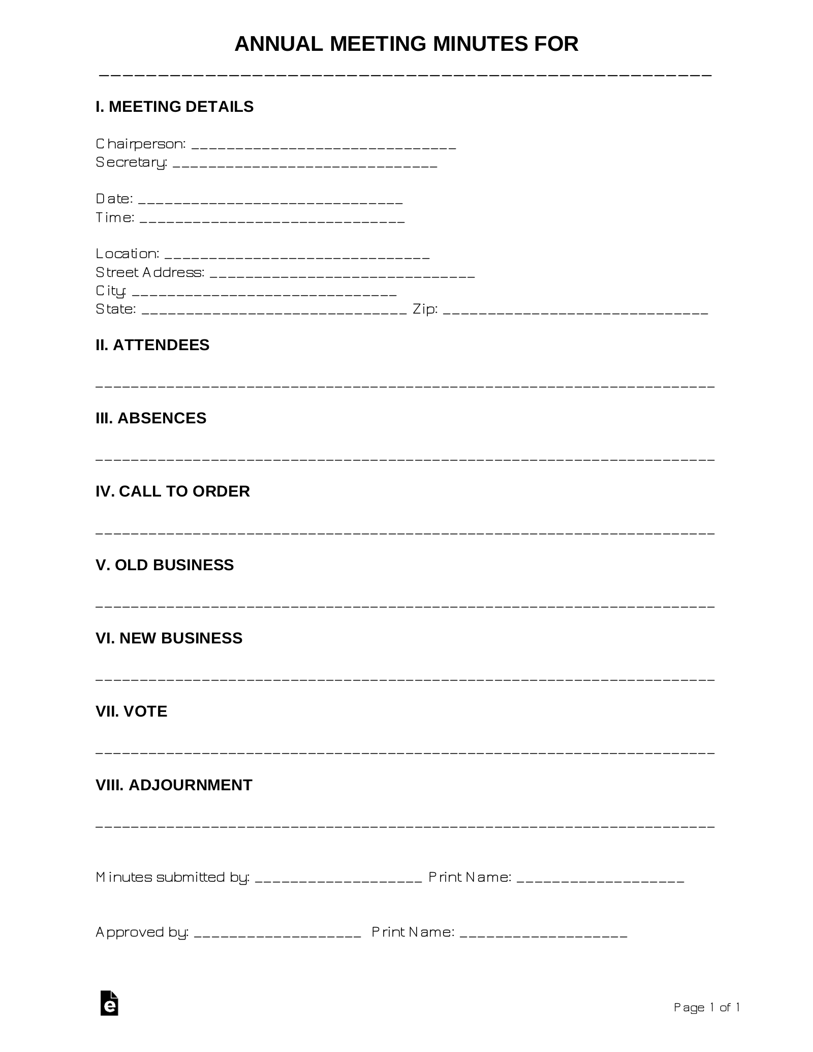 Free Annual Meeting Minutes Template  Sample - Word  PDF – eForms For Corporate Minutes Template Word