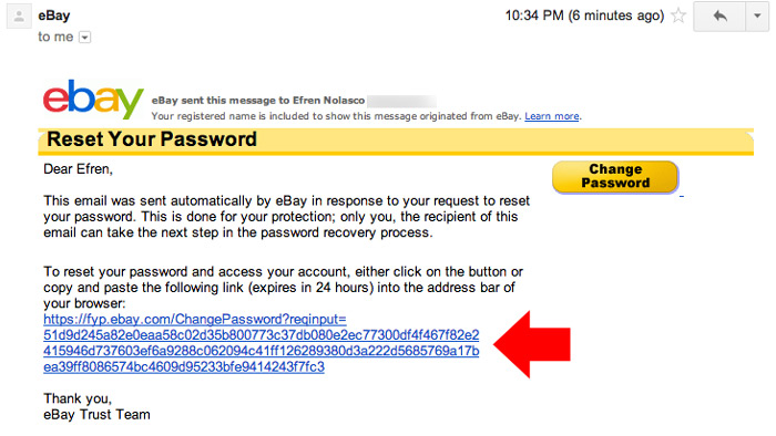 Change ebay password step 6