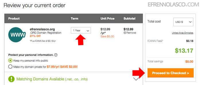 how to buy domain in godaddy step 4