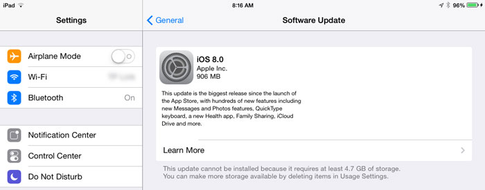 iOS 8 required Space