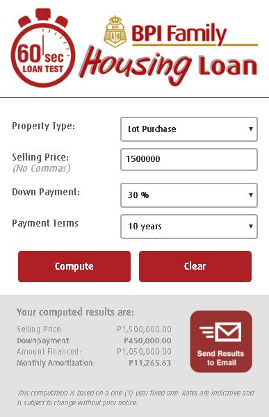 BPI Housing Loan Calculator