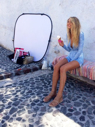 When smiles, ice-creams and photo shoots where a thing. Santorini, Greece.