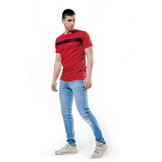 Merch Chest Stripe T-Shirt - Red