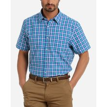 Plaid Short Sleeves Shirt - Blue & Green