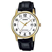 MTP-V002GL-7B Leather Watch - Black