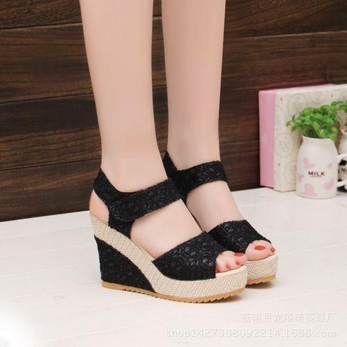 Women's Shoes Sandals Wedges Shoes Platform High Heels Open Toe Straw Braid Velvet Sandals-black