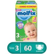 Molfix 3D Diapers – Size 3 – 58 Pcs + 2 Pcs Free