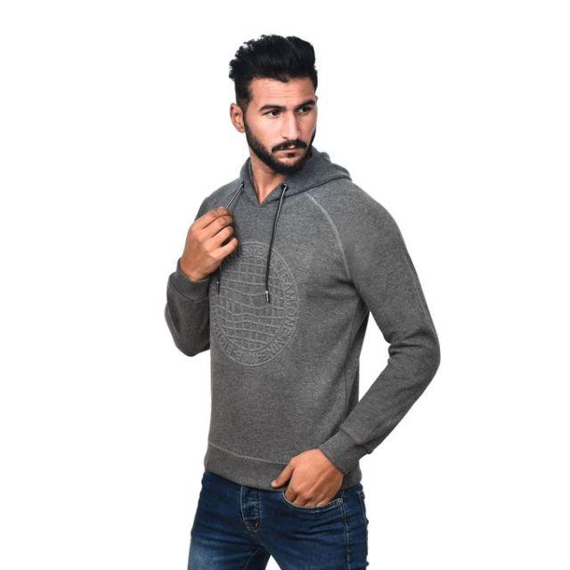 product_image_name-Town Team-Casual Plain Hooded Sweat Shirt - CHARCOAL-2
