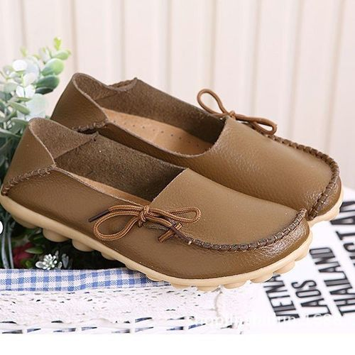 Women Shoes Leather Beanie Flat Shoes Summer Spring Autumn Slip-on Knot Non-slip Woman Ladies Soft Loafers Flats Khaki