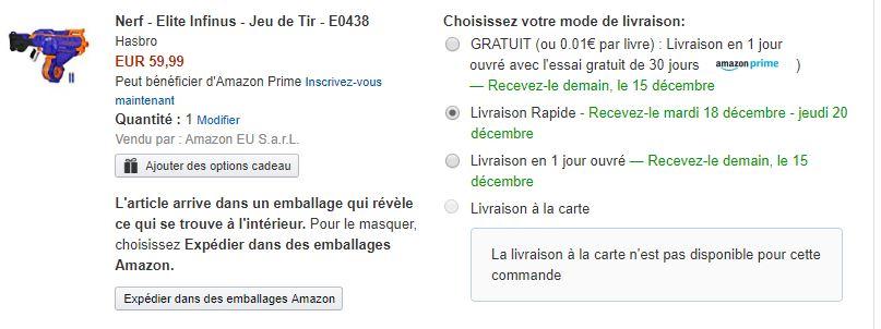 Commande sur Amazon emballage