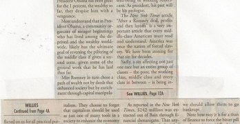 Kingwood Observer Article (2011-11-23) Mitt Romney: Middle-class Path To Indentured Servitude