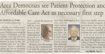 Professor Stephen Davis & Egberto Willies Quoted In Kingwood Observer Front Page Article on Obamacare