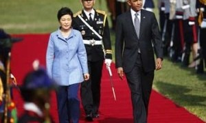 Obama Meets With President Park Geun-Hye to Honor Ferry Victims