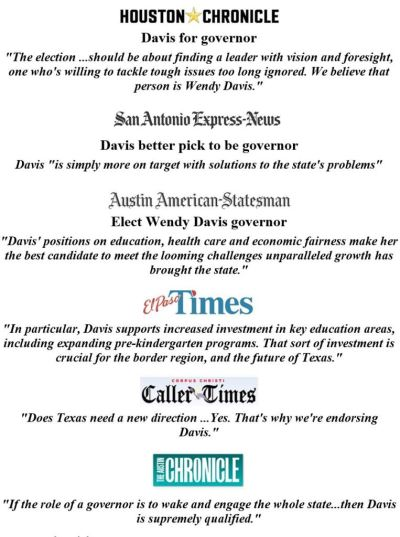 Wendy Davis Newspaper Endorsements