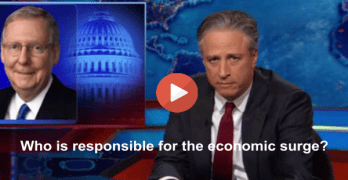 Jon Stewart slams Senator McConnell giving GOP credit for economic surge