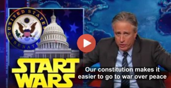 Jon Stewart - Constitution makes it easier to make war than peace