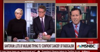 Mika Brzezinski challenges Rick Santorum on whute men with guns