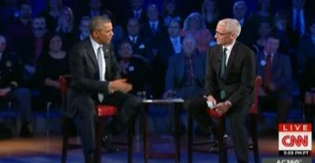 Obama slams Anderson Cooper on conspiracy theorists' defense at CNN's gun town hall.