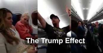 Airline Passenger calls women aboard Hillary Bitches as he hailed Trump.