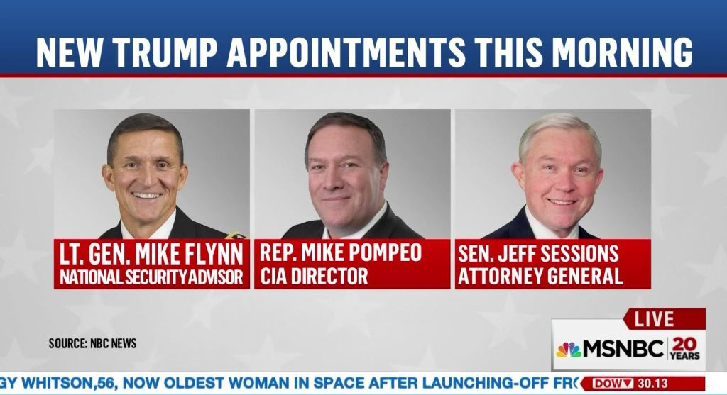 trump appointments, lt gen mike flynn, rep mike, pompeo, sen jeff sessions