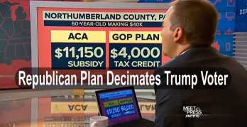 By The Numbers: Republican healthcare plan cost Trump voter much more than Clinton's (VIDEO)