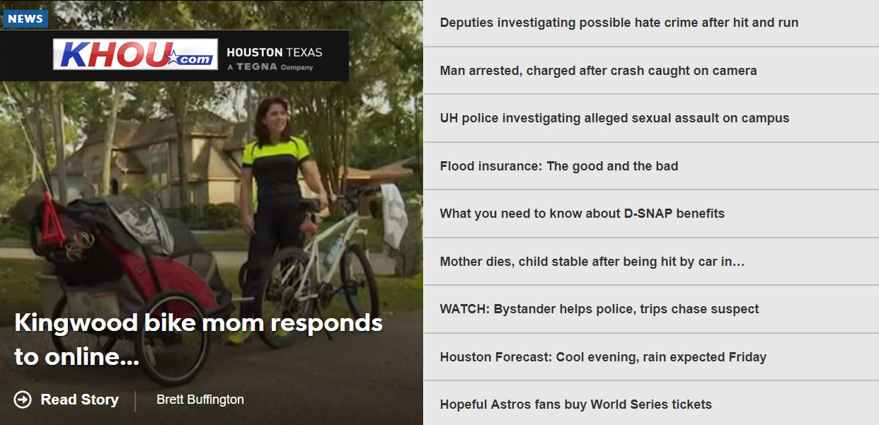 Kingwood mom who caused a stir biking her kids to school featured on KHOU (VIDEO)