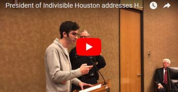 "Indivisible Houston Questions Harris County Commissioner's Court Over ""Damning"" Report on Hurricane Harvey at Public Hearing"
