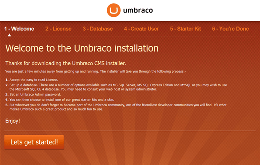Umbraco install screen