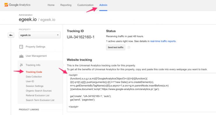 Google Analytics - Tracking code