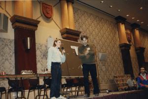 Jeff auctioning off the Jam original art.