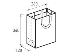 Вертикальный бумажный пакет В260x340x220 с лентами