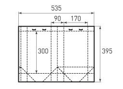 Вертикальный бумажный пакет V170x300x90 с прорезями для лент