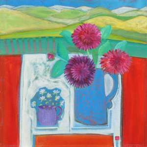 Purple Cup Hand painted Acrylic painting by John Birch