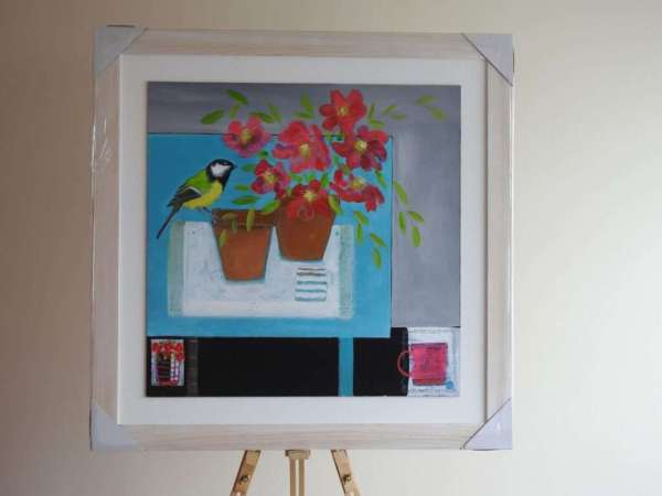 Great Tit with peonies