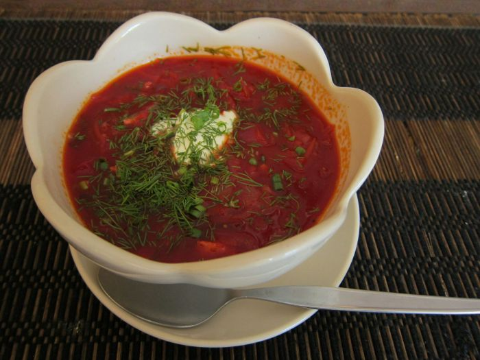 Anton's wife's Laotian Russian Borscht. Heavenly.