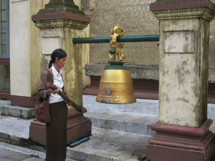 A regular sight at Buddhist temples, the bell. There are several reasons for hitting the bell, but a common one is to hit it fives times.