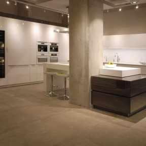 white ultra modern kitchen by eggersmann featured on display at studio Toronto