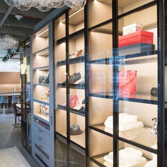 glass-covered storage in schmalenbach custom-designed luxury closet