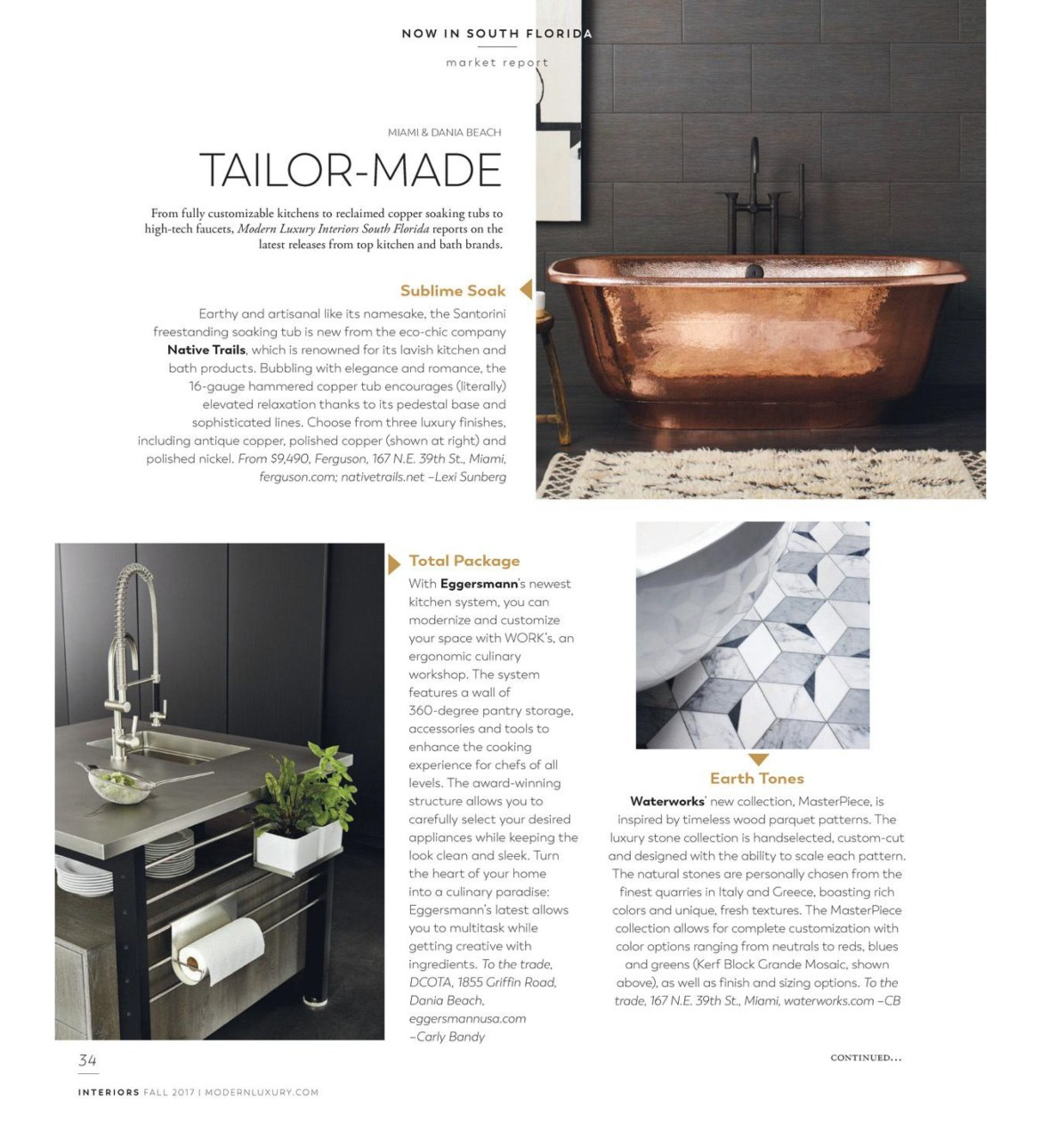 modern luxury interiors south florida magazine featured this market report for eggermann's innovative work's kitchen cabinet system