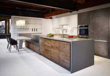 Vintage Oak and White Glass and Dark Grey Concrete