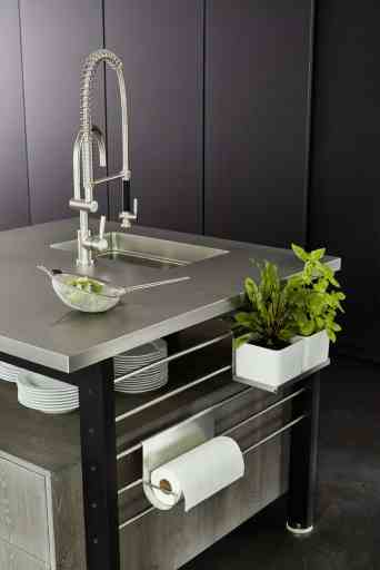 Works Islands with hot rolled steel worktop, planter and towel holder accessories