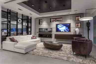 eggersmann custom media wall and 15 square room divider shelving