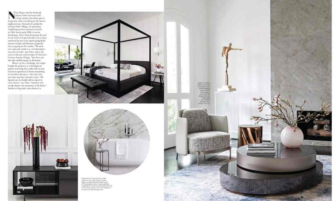 modern luxury interiors texas april 2019 issue features texas showhouse with many pieces of modern art and furniture in a classic manse
