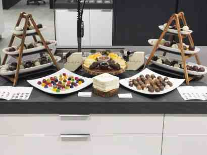 curated art exhibition at eggersmann dallas featured a chocolate buffet by chocolate secrets