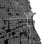 black and white map of chicago indicating location of an eggersmann showroom