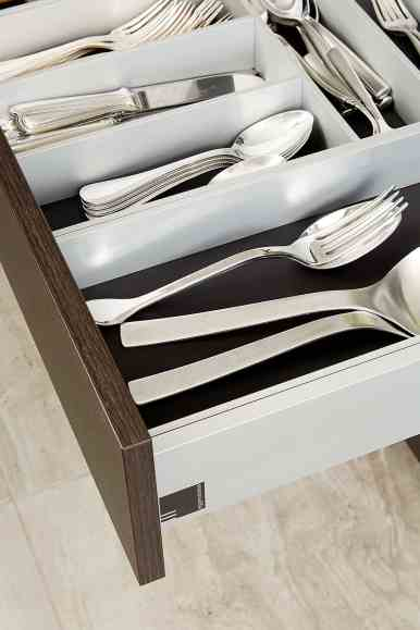 custom boxtec drawer inserts for silverware used in the moussa kitchen project completed by eggersmann la