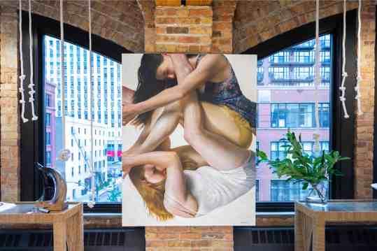 bruno surdo artwork in a victoria hardy interior design vignette featured at the rndd gallery walk 2019 in the eggersmann kitchens chicago showroom